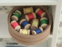 Round Box Of Reels , Dolls House Miniature, Sewing Room Needle Work