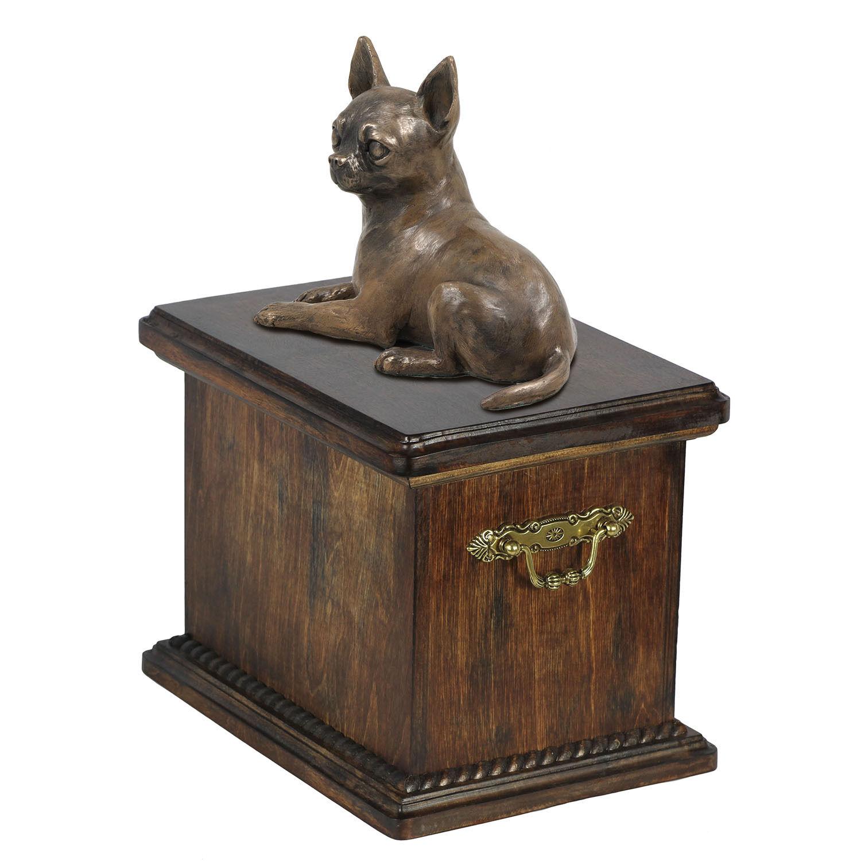 Bara in legno massello  huahua Memoriale Urna per le ceneri di cane, con statua di cane.