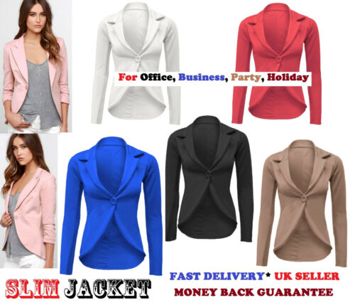 Womens Slim Fit Casual Smart Jersey Blazer Ladies Office Jacket Coat Suit slmjkt