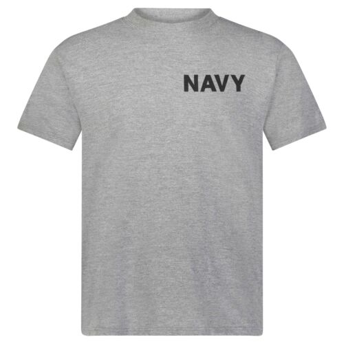 with Dri-Release® Soffe Men/'s US Navy Oxford Gray T-Shirt Crew Neck US Fabric