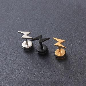2pcs Lightning Stainless Steel Z Letters Men Women Ear Pierced Stud Earrings by Alisouy