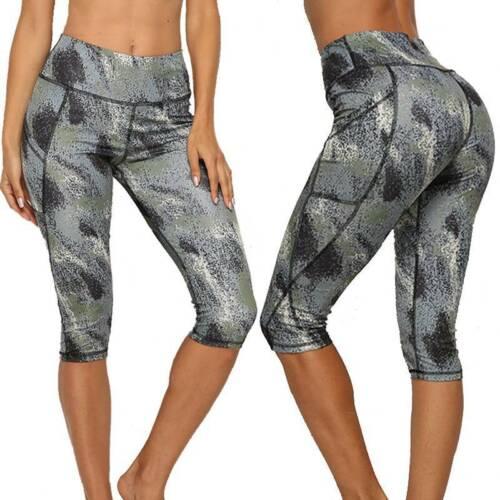 Damen 3//4 Capri Leggings Sporthose Laufhose Fitness Jogginghose Leggins Taschen