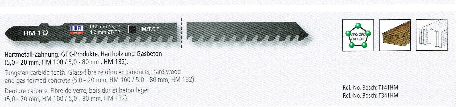 1 Hm Jigsaw Blade 100/132mm, for Bosch, For Gfk ,Porous Concrete, Hard Wood