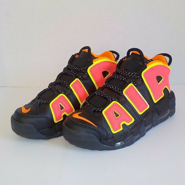 Nike AIR MORE UPTEMPO Basketball Shoes BLACK HOT PUNCH 917593 002 Woman Size  7.5 7601b3d258