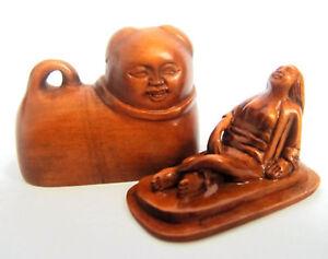 Japan-Antique-Erotic-Shunga-Boxwood-signed-INRO-Netsuke-ojime-Edo-Era-est-18th
