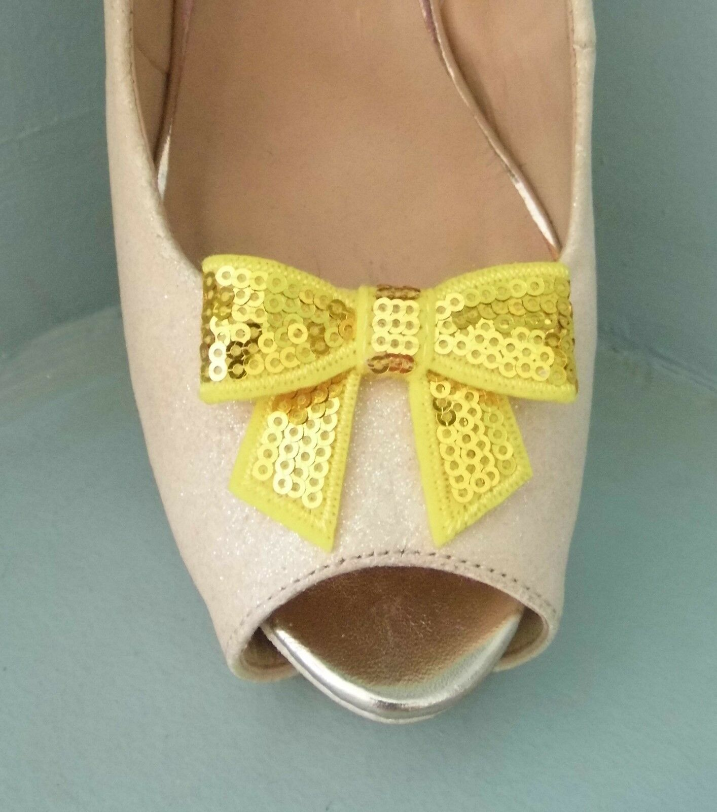 2 Yellow Sequined Bow Clips for Shoes