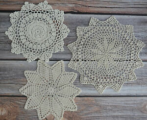 Set 3 White Crochet Lace Doilies Lot In Bulk Rustic Wedding Table