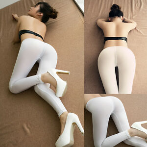 8296b82029909 Image is loading Women-Sexy-Lingerie-Transparent-Crotchless-Stretch-Long- Pants-