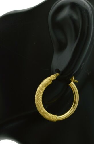 14k Solid Yellow Gold Texture /& polish  Hoop Earrings 20x3MM  1.4GR