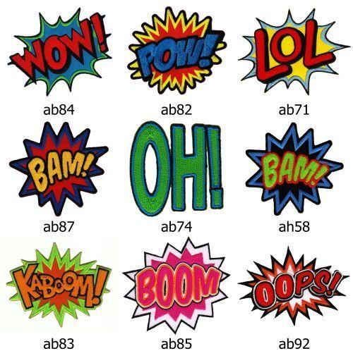 Set #026 Comic Aufnäher 9 Stück Sprechblasen Bügelbild Patch Wow Bam LoL Boom Oh
