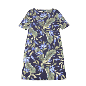 New-45-value-KAREN-SCOTT-Petite-0-2-Blue-Tropics-Elbow-Sleeve-Boat-Neck-Dress
