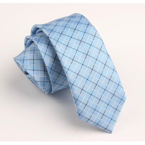 Men/'s Fashion Blue Checked Wedding Neck Tie Necktie Narrow Slim Skinny SK283