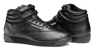 9043bd4f705b Image is loading Reebok-Hi-Freestyle-Black-Womens-Sneakers-Tennis-Shoes-