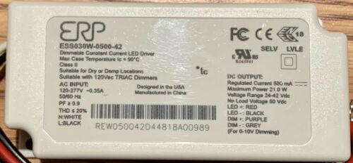 ERP ESS030W-0500-42 dimmable constant current LED driver 30w 500mA 42Vdc Ballast