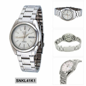promo code fb4cb 34c83 Details about Seiko 5 Automatic Mens Analog business Silver Band SNKL41K1