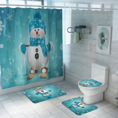 4Pcs//set Christmas Shower Curtain Bath Mats Rugs Cushion Set Bathroom Decor