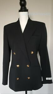Austin-Reed-Women-Jacket-Retro-90-039-s-Worsted-Wool-Branded-Black-sz-6-NWT-285