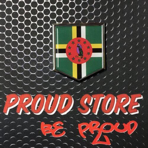 "Dominica Flag Domed CHROME Emblem Proud Flag Car 3D Sticker 2/""x 2.25/"" Roseau"