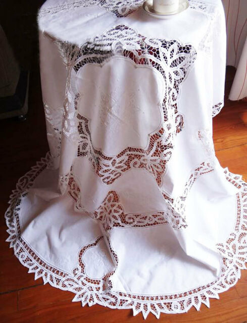 Elegant Hand Batten Lace Insertion Flower Embroidery White Cotton Table Cloth L