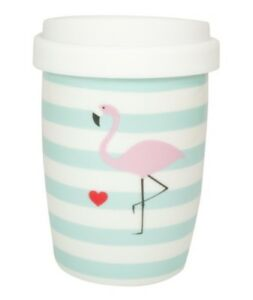 MEA-LIVING-Coffee-to-go-Thermo-Becher-Flamingo-Porzellan-blau-rosa-250-ml