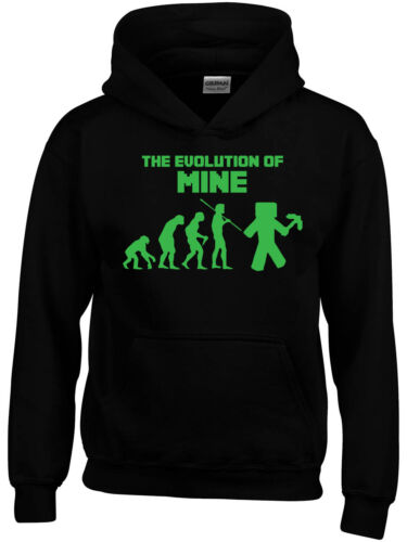 Mine Popular Craft Game Inspired Boys Girls Kids Mens Evolution Geek  Hoodie