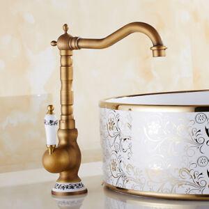 Details zu Retro Bad Küche Wasserhahn Waschbecken Mischer Waschtisch Amatur  Antik Keramik