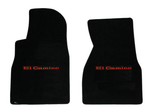 New 1973-1977 Chevy El Camino Floor  Mats Carpet Black With Red Letters Logo