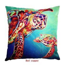 Cute Sea Turtle Cotton Linen Pillow Case Sofa Cushion Cover Home Decor 18 Inches