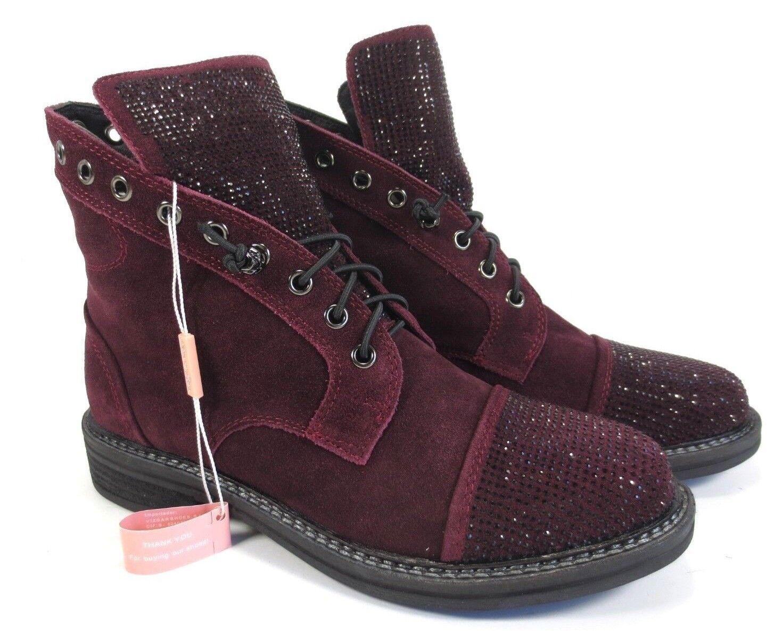 Alma en pena brillo botas zapatos de piel botines botines botines burdeos rojo nuevo f3e595
