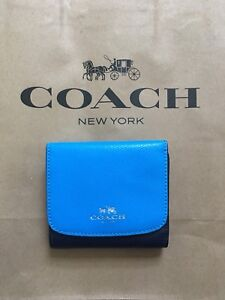 e8565c4bbd586 Image is loading NWT-Coach-F57825-Geometric-Colorblock-Small-Wallet-Midnight -