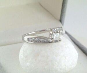 Vintage Damen Ring Weißgold 585er 14 Karat mit 0,70 ct,Diamanten 54 (17,2 mm Ø)*
