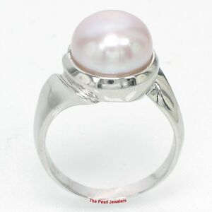 Solid Sterling Silver .925 White Freshwater Cultured Pearl Solitaire Ring TPJ