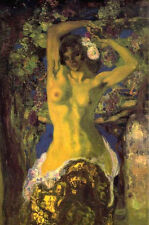 Oil painting Anglada Camarasa - Naked under the vine grape canvas with roses