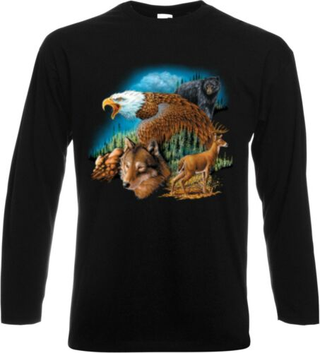 Longsleeve//Langarmshirt in schwarz Natur Wolf Adler /& Tiermotiv Modell Wild Life