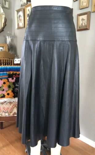 Adorable Vintage 1980s Black Leather Circle Skirt