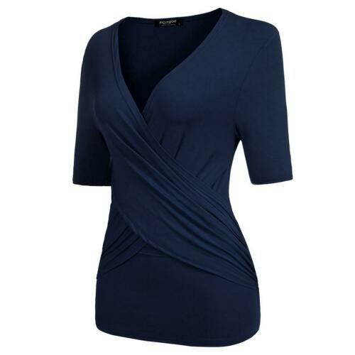 Frauen Crossover V-Ausschnitt Kurzarm geraffte Pullover Slim Bluse M9 01