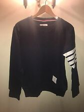 Thom Browne Navy Striped Loopback Cotton-Jersey sweatshirt Size 3