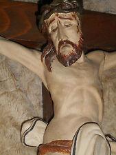 ANCIEN CRUCIFIX MURAL/XIXémé/CHRIST BOIS PEINT/H.100cm/AUTEL/EGLISE/MESSE/EGLISE