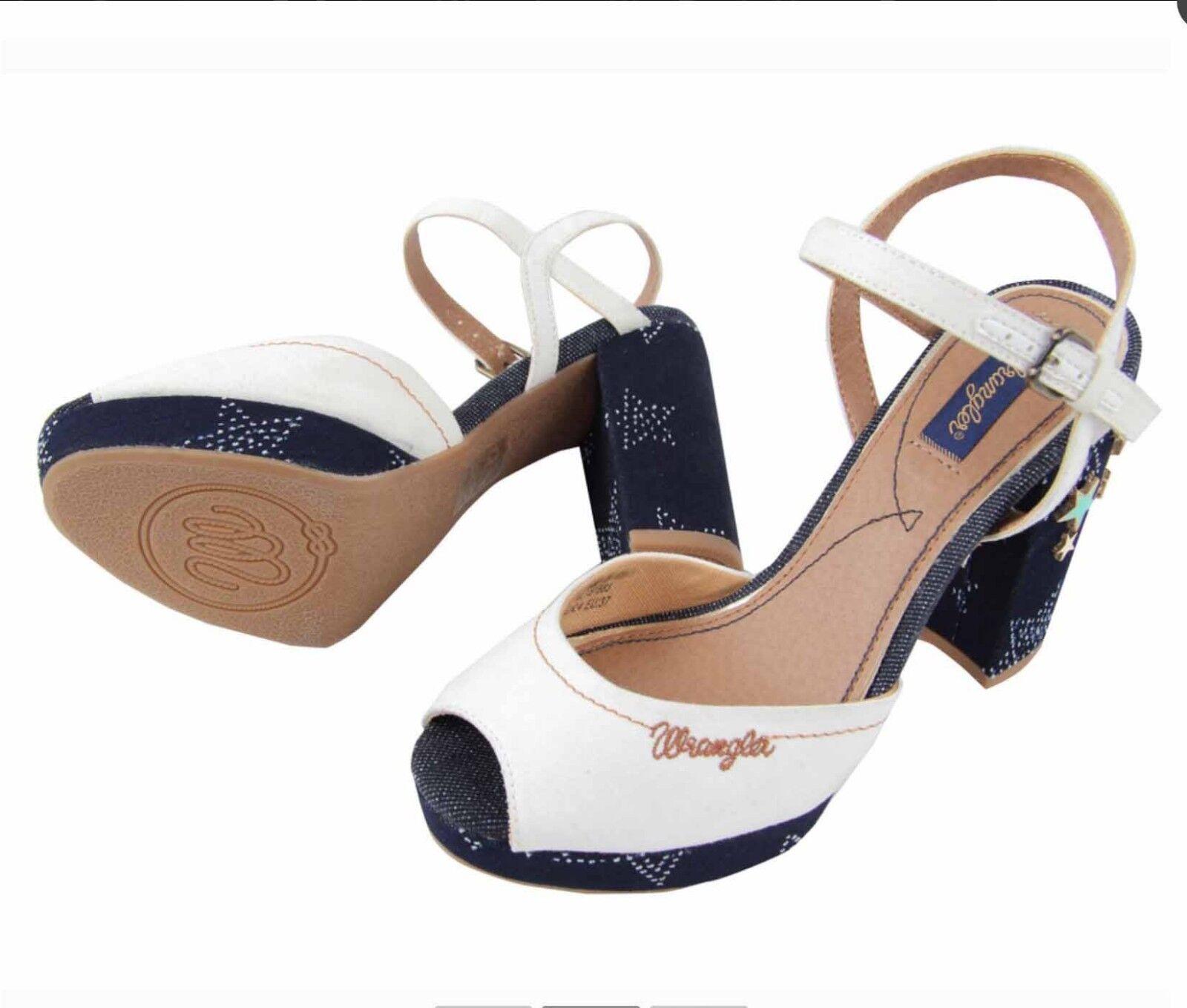 WRANGLER Blau STARS SANDALS Schuhe SIZE UK4 EU37