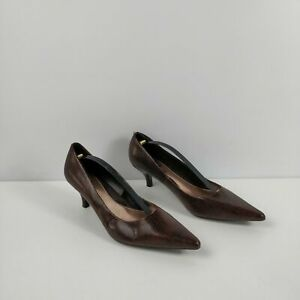 WOMENS-M-amp-S-MARKS-SPENCER-BROWN-LEATHER-SLIP-ON-HIGH-HEELS-SHOES-UK-5-5-EU-39