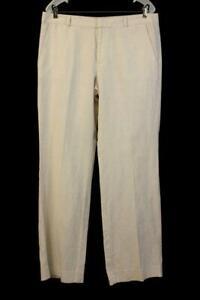 NWT BANANA REPUBLIC Beige Tan MARTIN LINEN TROUSER Dress Pant Womens LARGE 12