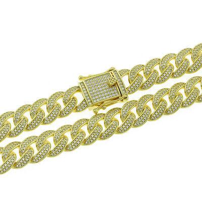 Cuban Chain Bracelet 925 Solid Sterling Silver Degrade Cuban Chain Cubic Zirconia Gemstone 14K Gold Vermeil