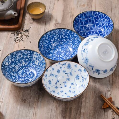 Ceramic Rice Noodle Bowl Made in Japan Hand-painted Under-glaze Tableware Retro