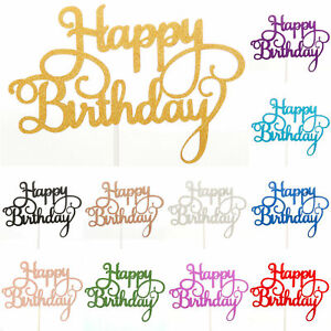 Miraculous Happy Birthday Cake Toppers Glitter Calligraphy Bling Sparkle Funny Birthday Cards Online Hetedamsfinfo