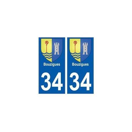 34 Bouzigues blason autocollant plaque immatriculation ville -  Angles : droits