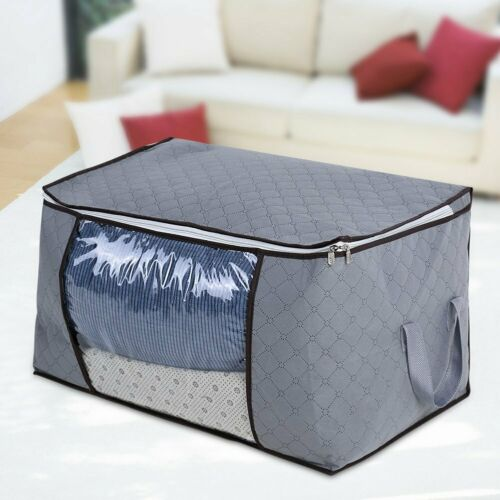 Foldable Bamboo Carbon Quilt Zip Storage Bag Clothes Bedding Organizer Household