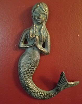 Antiques Bronze Patina Cast Iron Praying Mermaid Wall Decor