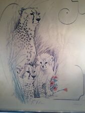 Vintage Signed Framed Artwork Picture Cheetah & Cubs Watercolor?