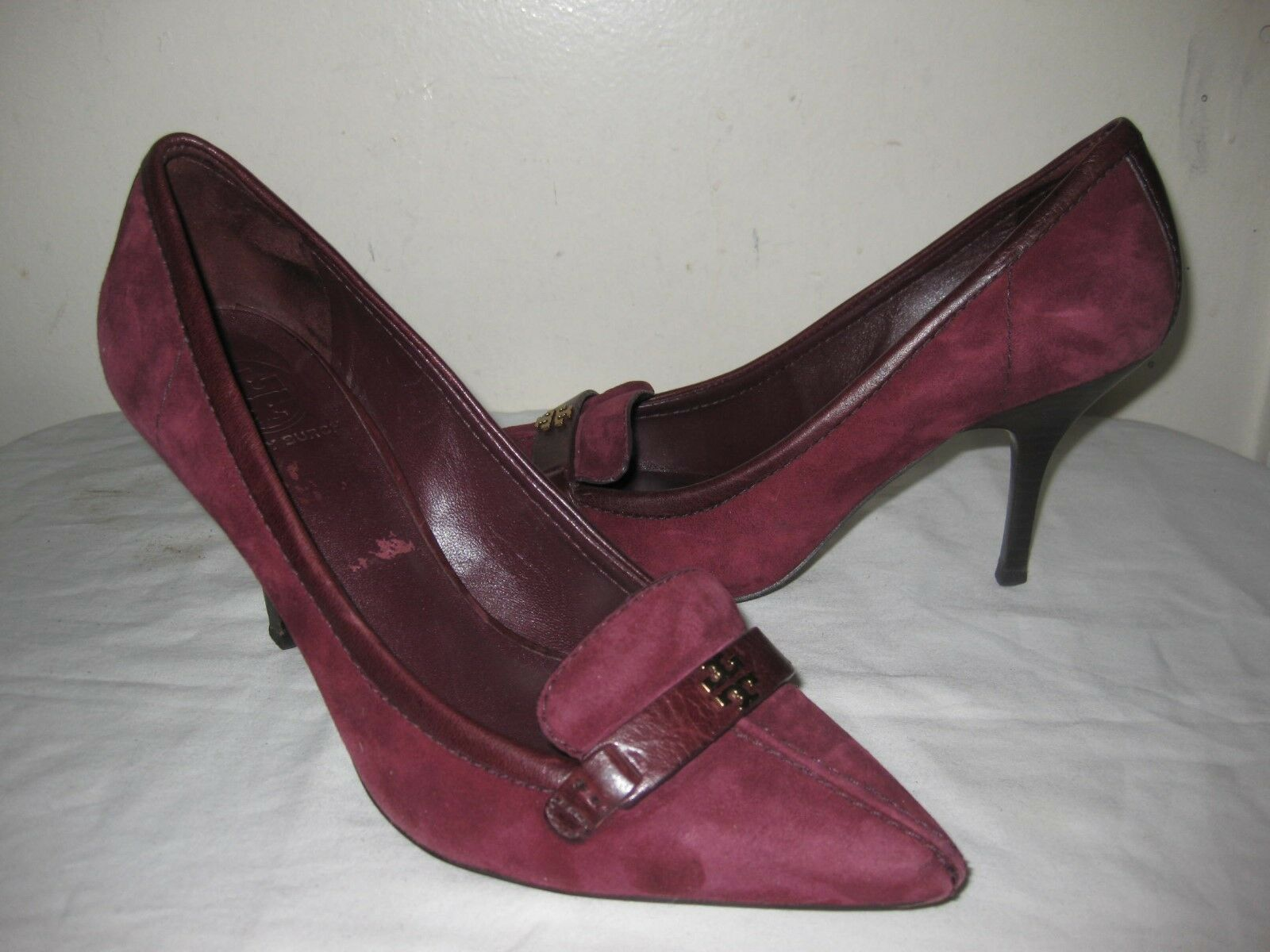 TORY BURCH All Leather Burgundy Pointy Toe Kitten Heel Shoes Shoes Heel Size 8.5 M e450ed