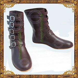 Détails sur Style médiéval Festival Chaussures Viking Footwear Renaissance Bottes en cuir pour hommes afficher le titre d'origine
